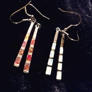 Red and Fire Opal Dangly Earrings, Two pair